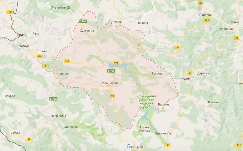 Територија општине Нова Варош (foto: Google Maps)