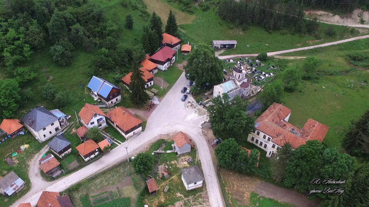 Поглед из ваздуха - панорама центра Штиткова