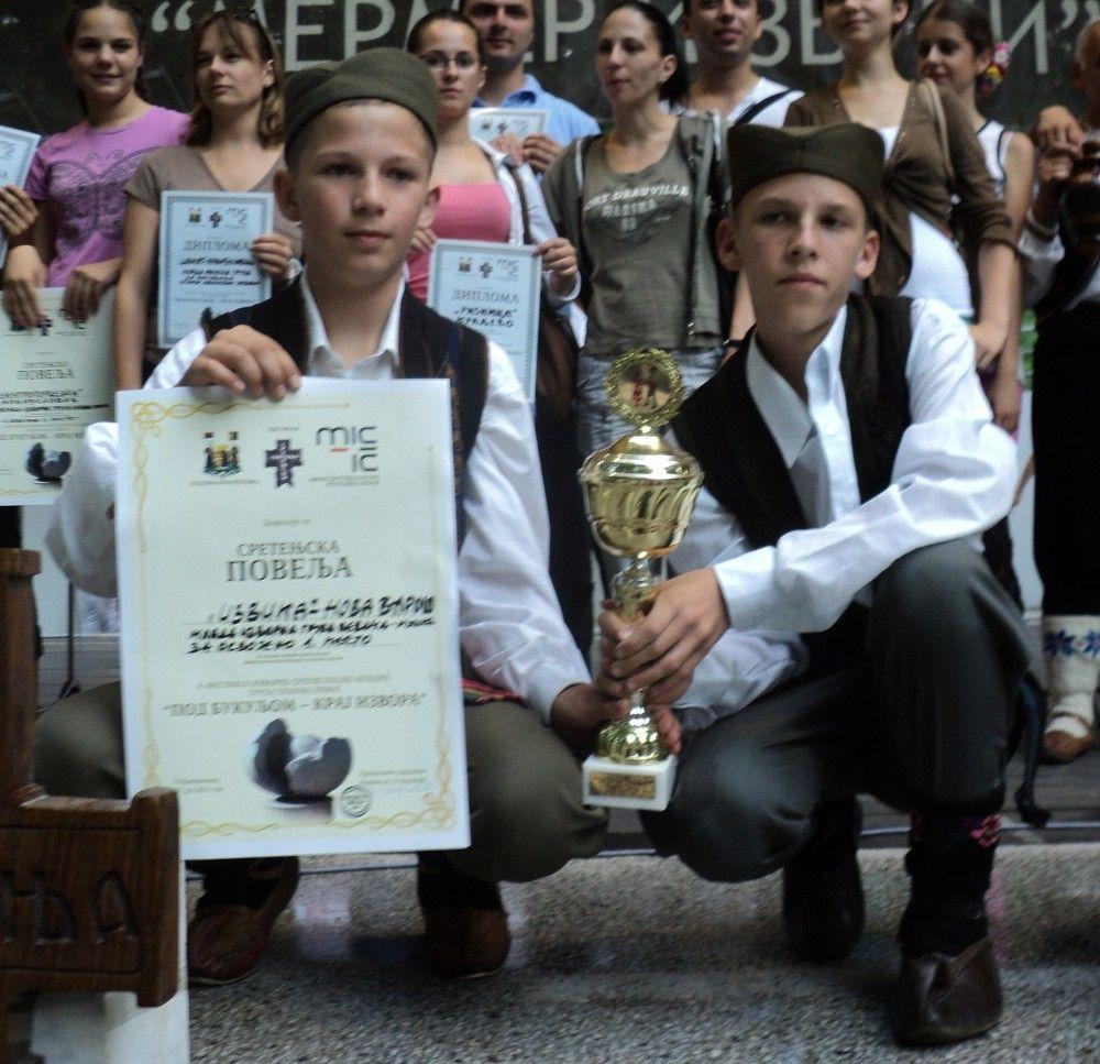 Prvi mesto na festivalu mladih: Nemanja Milojević(11) i Borivoje Ilić(12)
