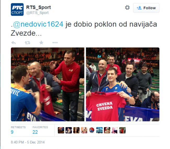 Navijači Zvezde poklonili Nedoviću crveno- belu majicu