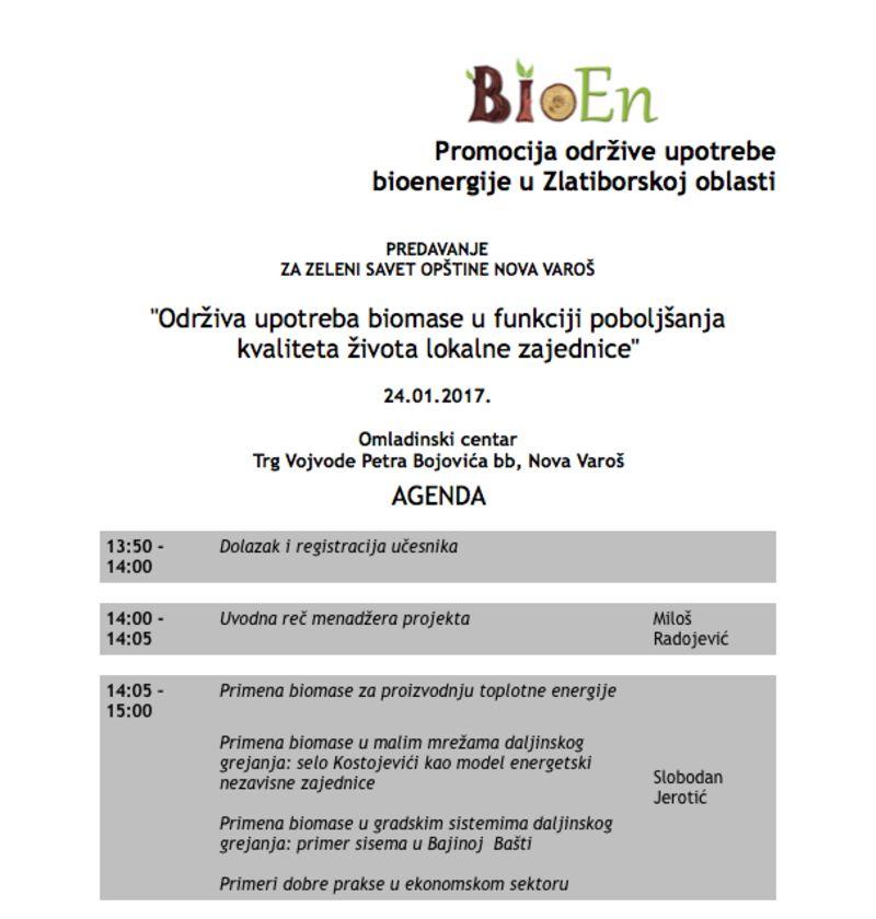 Održiva upotreba biomase u funkciji poboljšanja kvaliteta života lokalne zajednice - Agenda