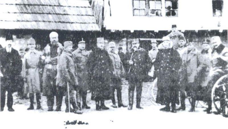 Група аустроугарских официра у Дугој Пољани код Сјенице 1916. године