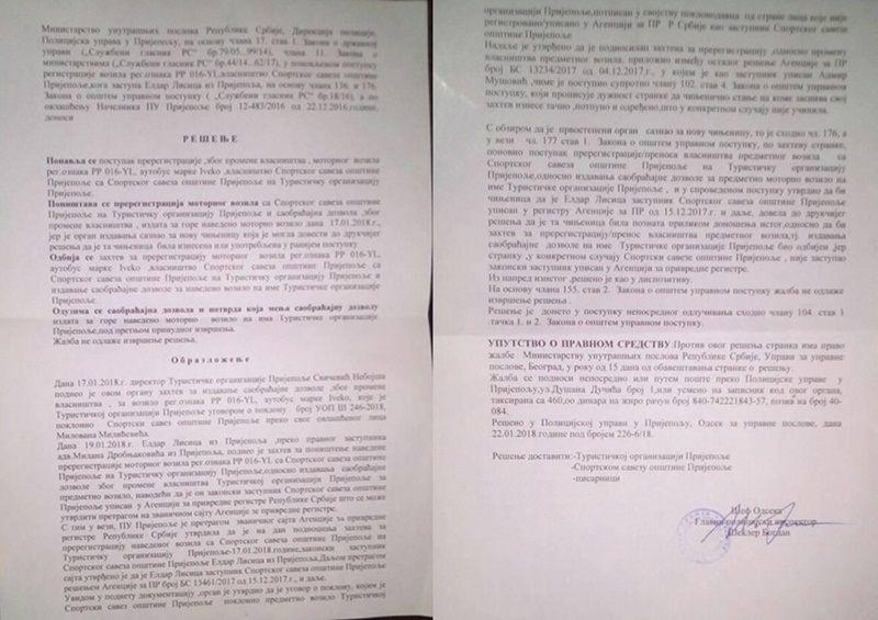 Решење ПУ Пријепоље којим се поништава регисстрација комби возила