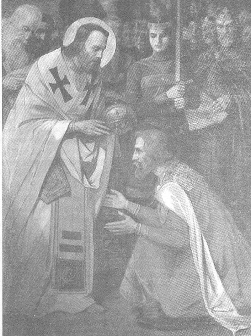 Слика Паје Јовановића: Свети  Сава крунише свог брата Стефана Првовенчаног