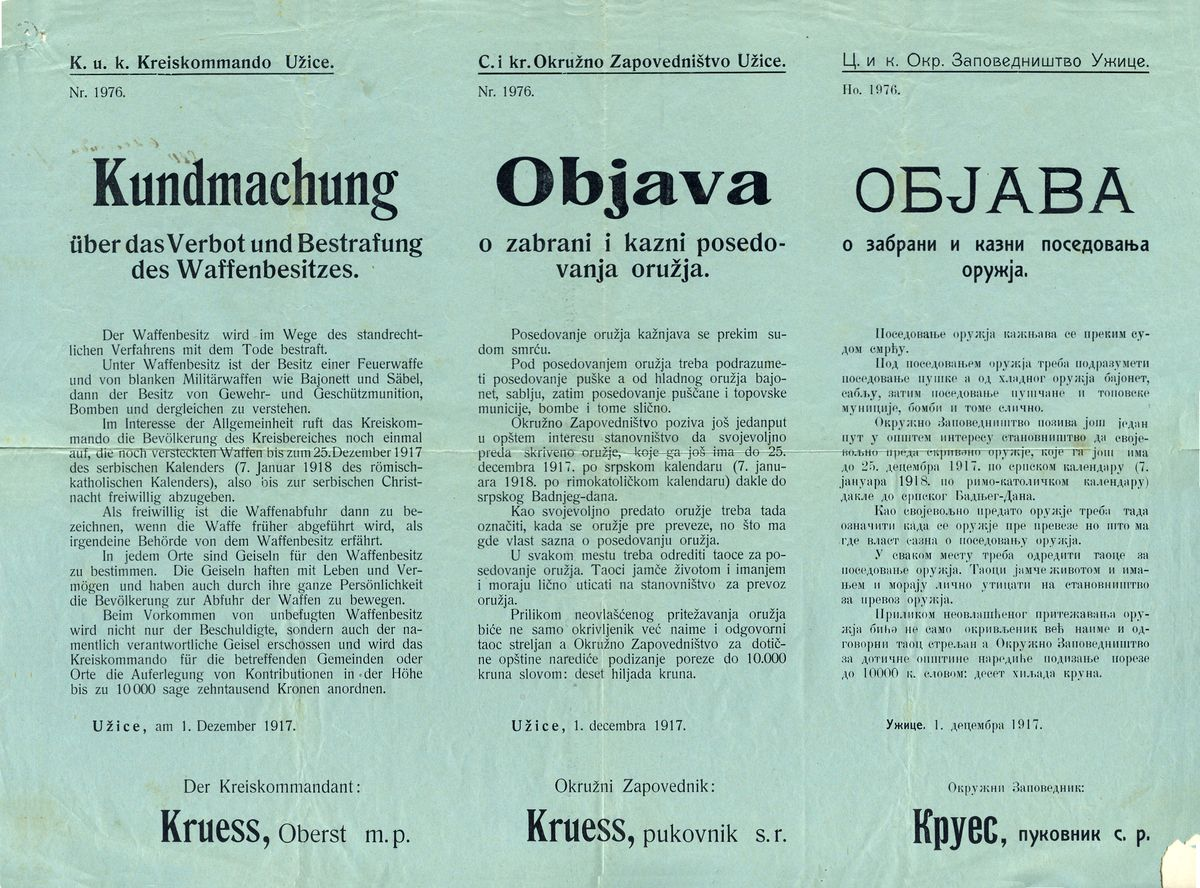 Објава о забрани поседовања оружја, 1. децембар 1917.