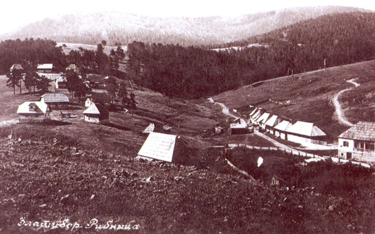 Рзгледница прве брвнаре у Рибници под Торником