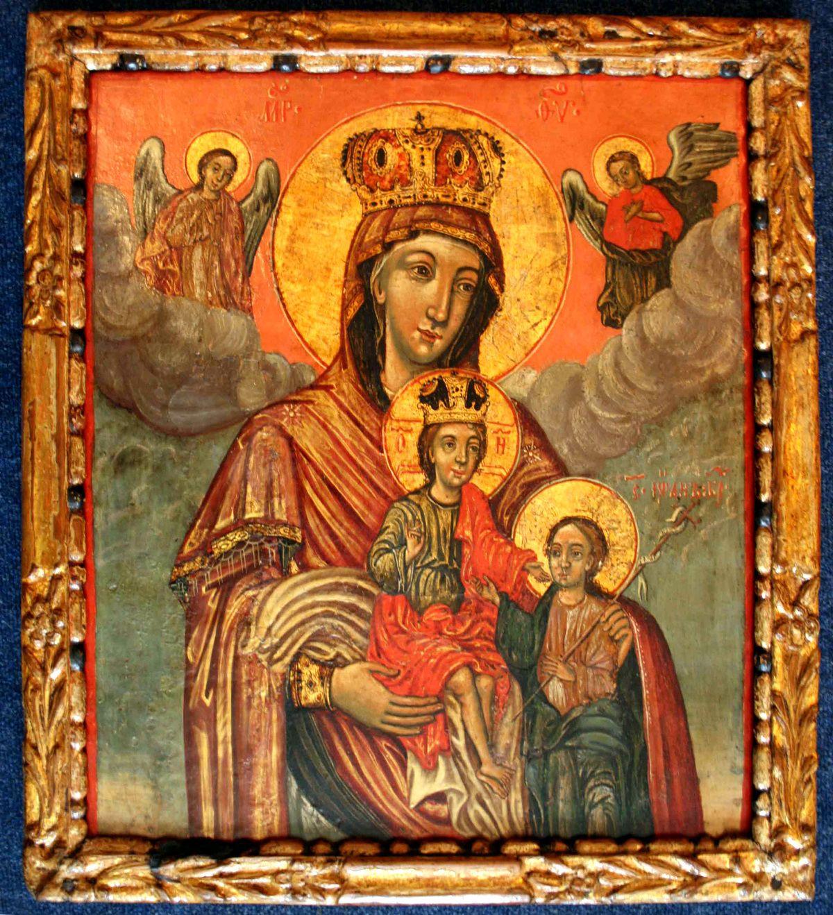 Икона  -  Богородица са Христом и Св. Јованом Алексија Лазовића