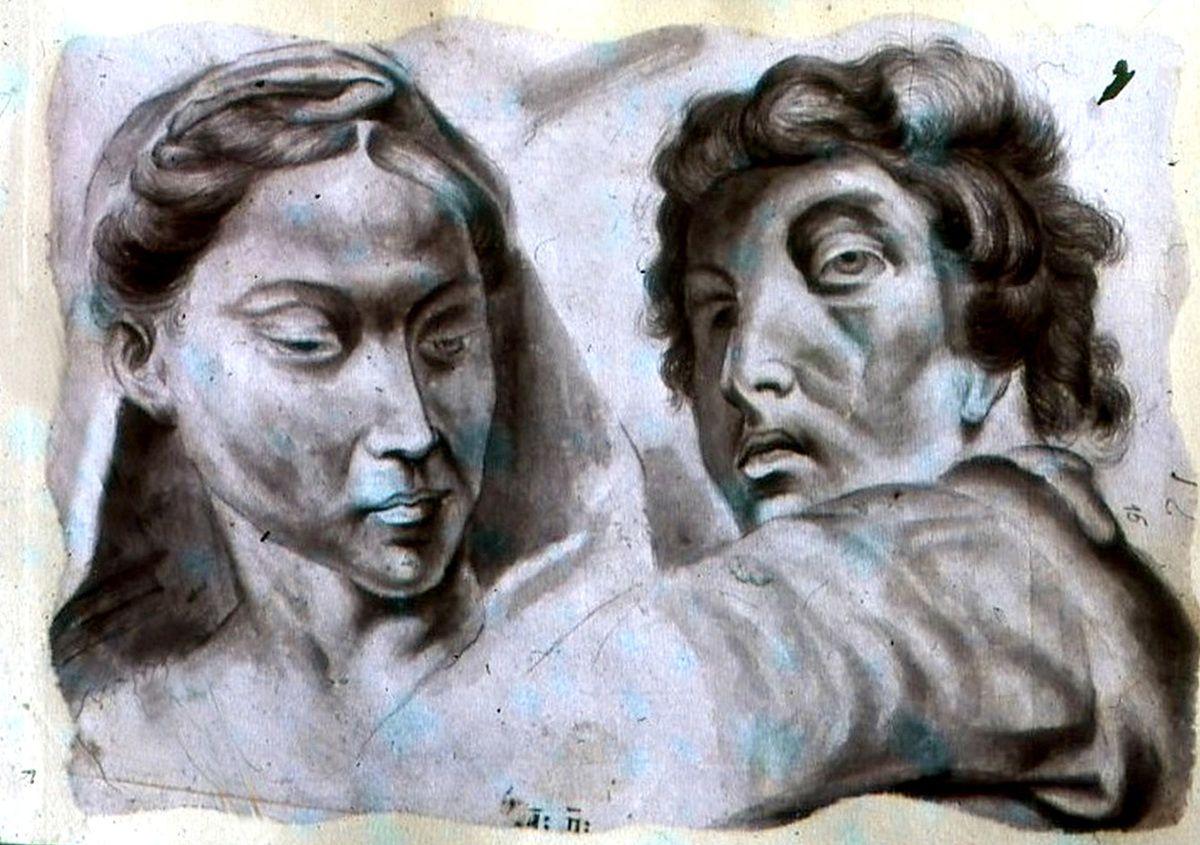 Цртежи - студије (копије) мушкарца и жене, рад А. Лазовића
