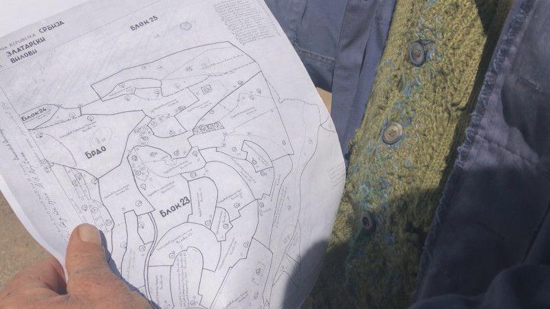 Скица за коју Лековићи тврде да је меродавна и у којој се види да су они власници шуме, фото: ГЗС
