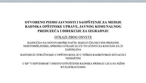 Otvoreno pismo javnosti radnika Opštinske uprave, Komunalnog preduzeća i Direkcije za izgradnju