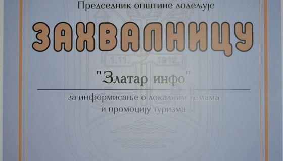 Zahvalnica ZlatarInfo portalu za informisanje o lokalnim temama i promociju turizma