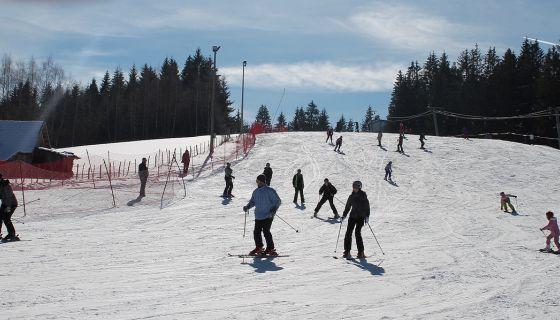 Скијање на трећини стазе од Цвијетњака до Пуцаревине
