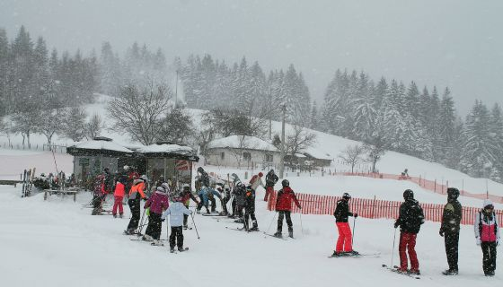 Мећава им не смета - први час школе скијања