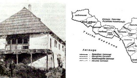 Конак сердара Јована Мићића у Чајетини (лево) и подељени Стари Влах, села припојена Србији 1834.